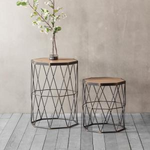 Ciara Set Of 2 Side Tables In Wooden Top With Metal Frame