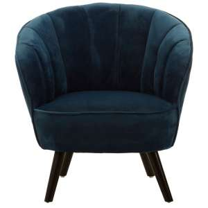 Barnard Tub Style Velvet Upholstered Bedroom Chair In Blue