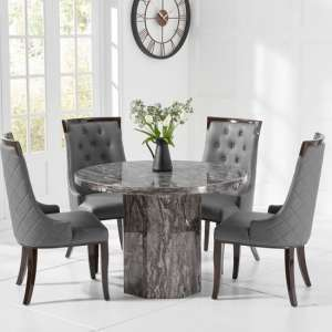 Kempton Grey Marble Dining Table With 4 Tulip Dining Chair