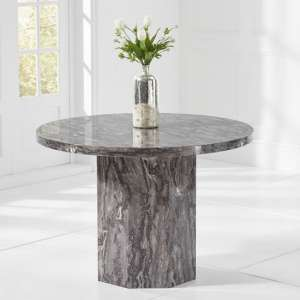 Kempton Round Grey High Gloss Marble Effect Dining Table