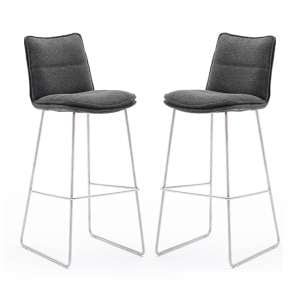Ciko Anthracite Fabric Bar Stools With Brushed Legs In Pair