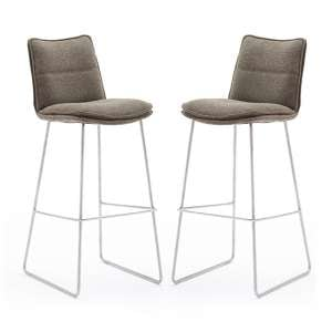 Ciko Cappuccino Fabric Bar Stools With Brushed Legs In Pair