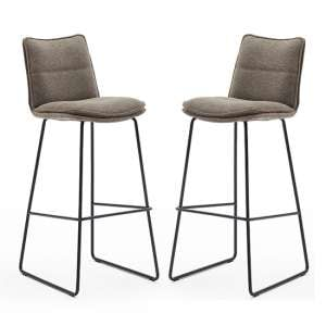 Ciko Cappuccino Fabric Bar Stools With Matt Black Legs In Pair