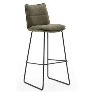 Ciko Fabric Bar Stool In Olive With Matt Black Steel Legs