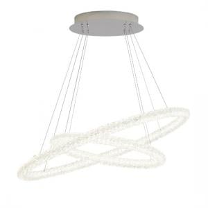 Circle LED Ceiling Pendant In Chrome And Clear Crystal