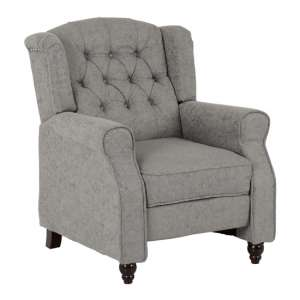 Citaly Fabric Reclining Chair In Grey