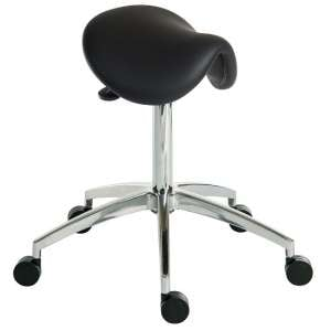 Clack Contemporary Stool In Black PU With Castors