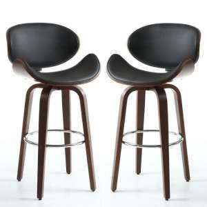 Clapton Bar Stools In Black PU And Walnut In A Pair