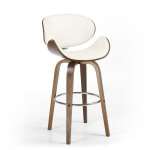 Clapton Bar Chair In Cream PU And Walnut With Chrome Foot Rest