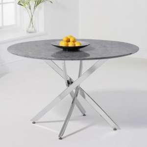 Clora Round Marble Effect Dining Table In Grey With Chrome Legs