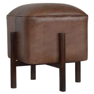 Clarkia Leather Footstool In Brown With Solid Wood Legs