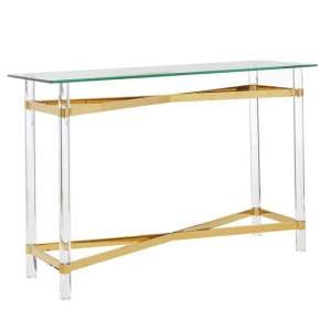 Clarox Rectangular Glass Console Table With Rich Gold Tones
