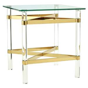 Clarox Square Glass End Table With Rich Gold Tones