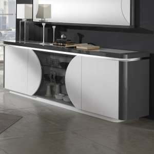 Clarus Sideboard In White And Grey Gloss Lacquer With LED