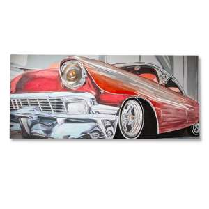 Classic Car 3D Picture Canvas Wall Art In Red And Silver