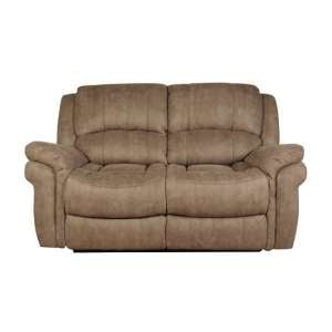 Claton Recliner 2 Seater Sofa In Taupe Leather Look Fabric