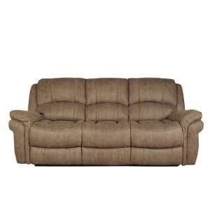 Claton Recliner 3 Seater Sofa In Taupe Leather Look Fabric