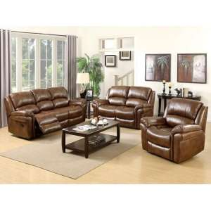 Claton Recliner Sofa Suite In Tan Faux Leather