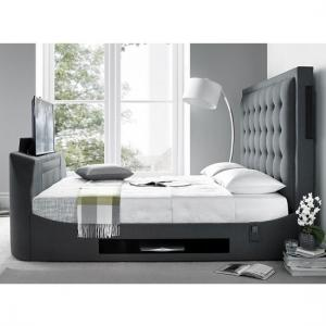 Clause Modern Fabric Super King Size TV Bed In Dark Grey