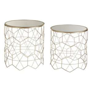 Clazz Mirrored Set of 2 Side Tables In Champagne And Gold Frame