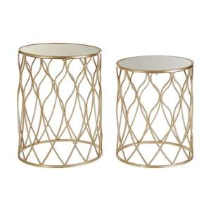 Clazz Set Of 2 Side Tables In Mirrored Top And Metallic Frame