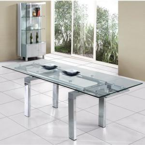 Jessi Clear Glass Extendable Dining Table Only