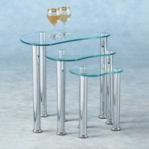 Glass nest of tables furniture in fashion katerina clear glass nest of 3 tables watchthetrailerfo