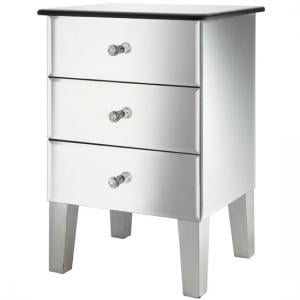 Solitaire Mirrored Bedside Cabinet With 3 Drawers