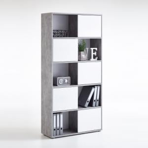 Cleator Tall Display Stand In White High Gloss And Light Atelier
