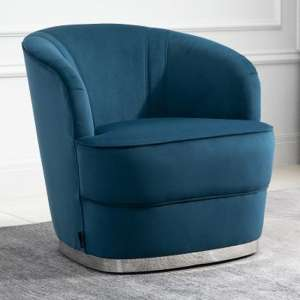 Cleo Fabric Upholstered Accent Chair In Midnight Blue