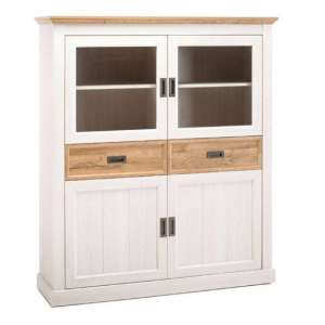 Cleveland Large Display Cabinet In White And Wild Oak