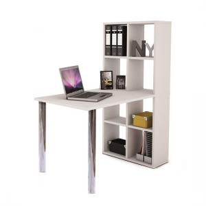 Cleveland Computer Desk In White With Bookcase