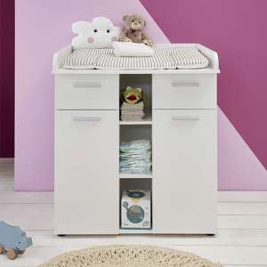 Clevo Wooden Storage Cabinet With Changer Top In White
