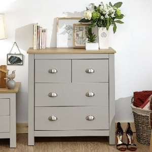 Valencia Wooden Chest Of Drawers In Grey And Oak With 4 Drawers