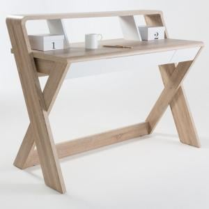 Clifton Wooden Computer Desk In Light Oak With Central Drawer