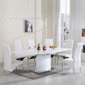 Clintock High Gloss Dining Table And 6 Vesta White Chairs