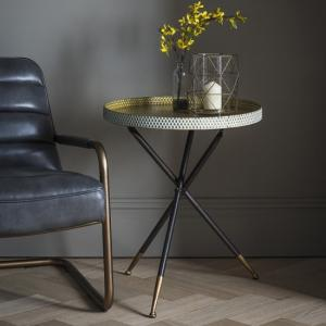 Cloral Metal Side Table In Gold And Black With Tripod Base