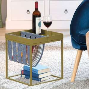 Club NY Magazine Metal Side Table In Martini Olive