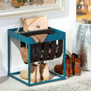 Club NY Magazine Metal Side Table In Scandinavian Blue