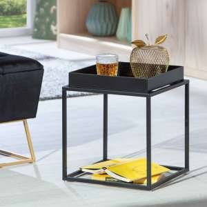 Club NY Metal Side Table In Deep Black