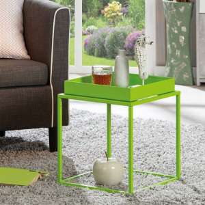 Club NY Metal Side Table In Pretty Green