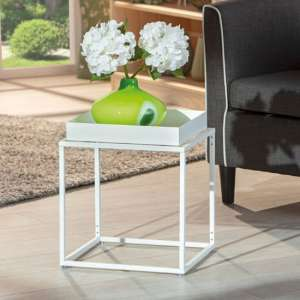 Club NY Metal Side Table In Snow White