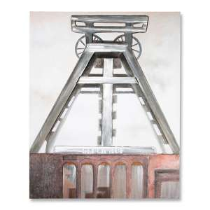 Coal Mine 3D Picture Canvas Wall Art In Silver And Brown