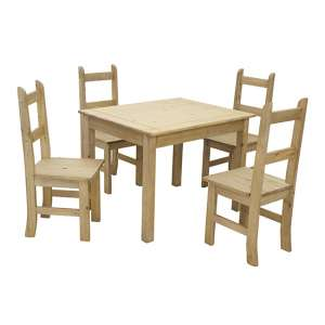 Coba Mexican Dining Set In Distressed Pine With 4 Chairs