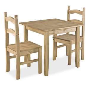Coba Mexican Small Dining Set In Distressed Pine With 2 Chairs