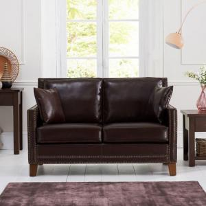 Cobalt 2 Seater Sofa In Brown Leather With Dark Ash Legs