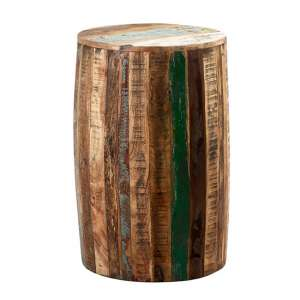 Coburg Wooden Drum Stool In Vintage Oak