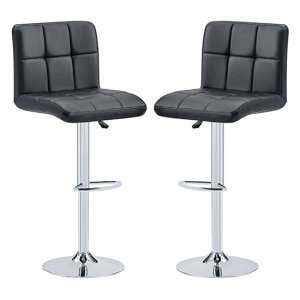 Coco Black Faux Leather Bar Stools In Pair