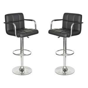 Coco Black Leather Bar Stool In Pair