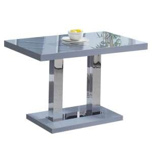 Coco Dining Table In Grey High Gloss With Chrome Supports